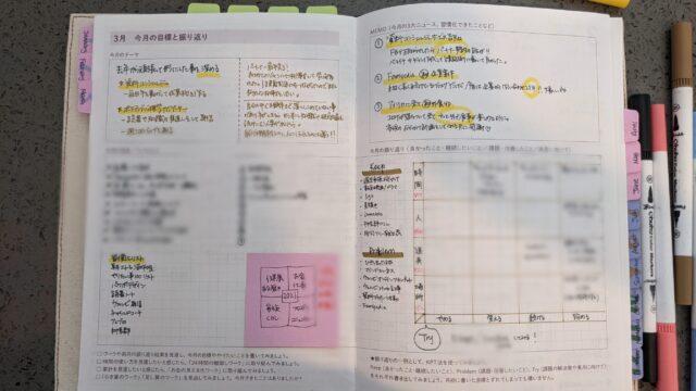 自分軸手帳振り返りページ